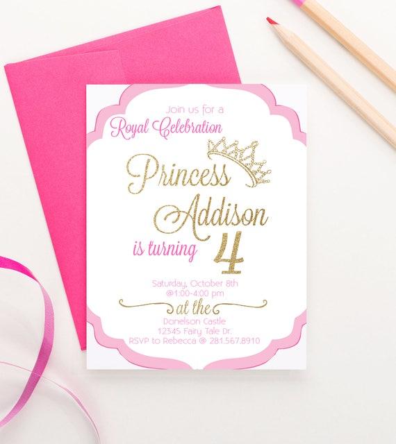 Princess Birthday Invitation Royal Princess Birthday Party Etsy