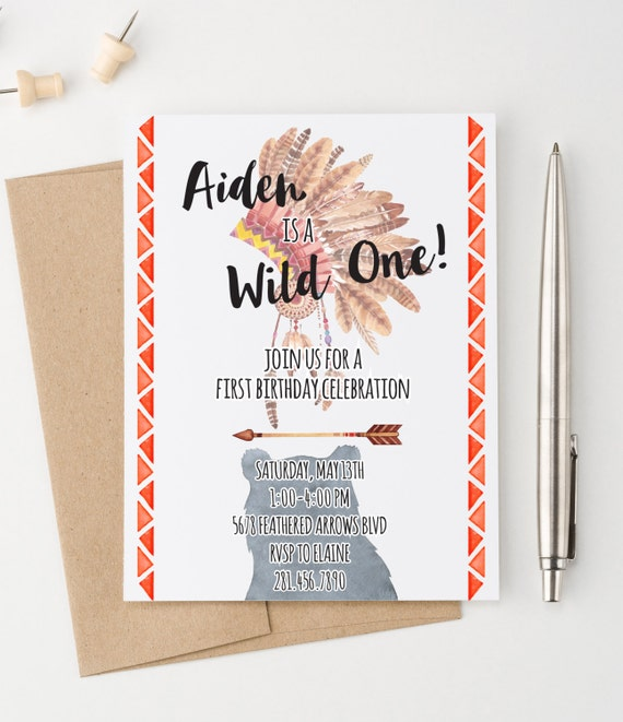 Bohemian Birthday Invitation One Year Invitations