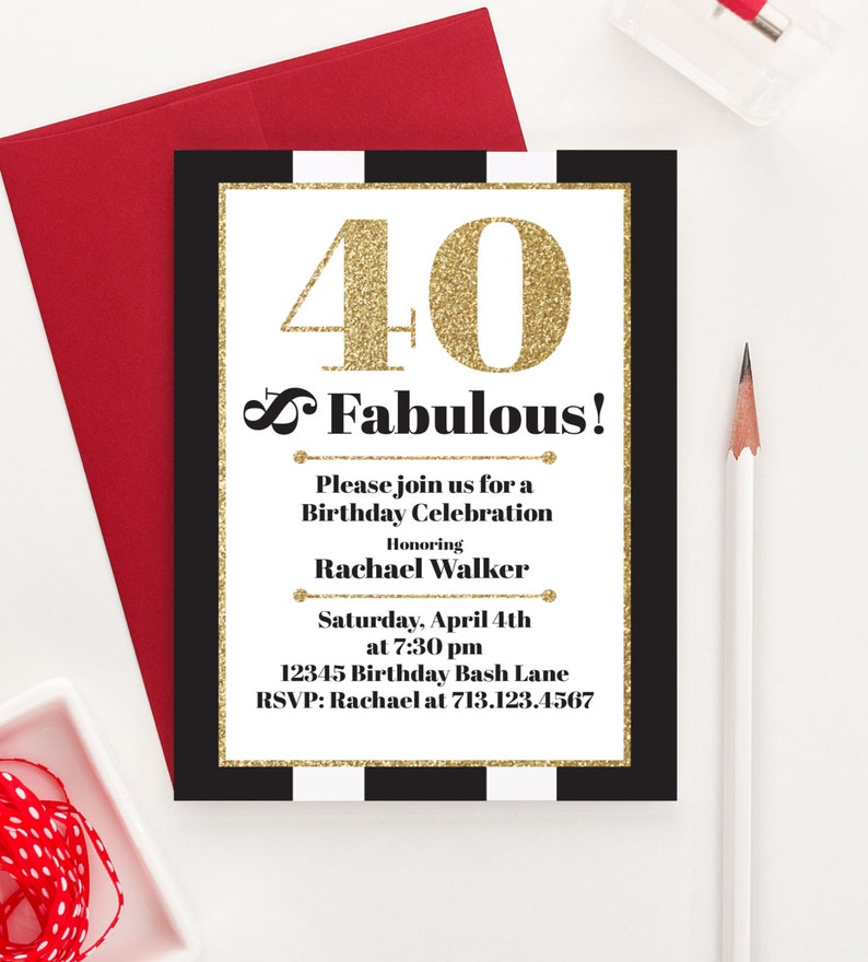 40 And Fabulous Milestone Birthday Invitations Adult
