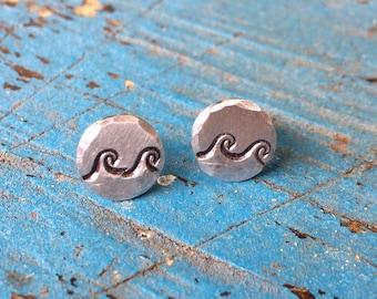 Ocean Wave Stud Earrings - Waves Earrings - Beach Ocean Inspired Jewelry - Stud Post Earrings - Small