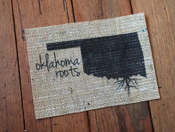 Burlap Oklahoma Roots Art Print Home Decor The
