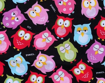 Sleepy Owls  Print  - 100% Cotton Fabric