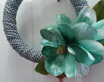 Modern Grey Polka Dot and Teal Floral Wreath