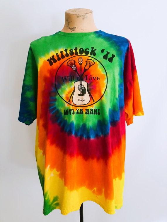 Guitar print rainbow tie-dye T-shirt