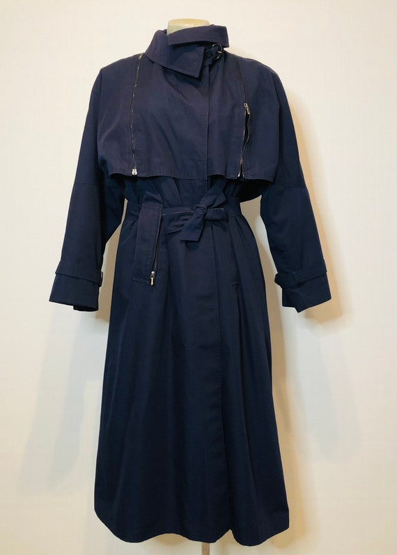 Vintage navy blue classic trench coat
