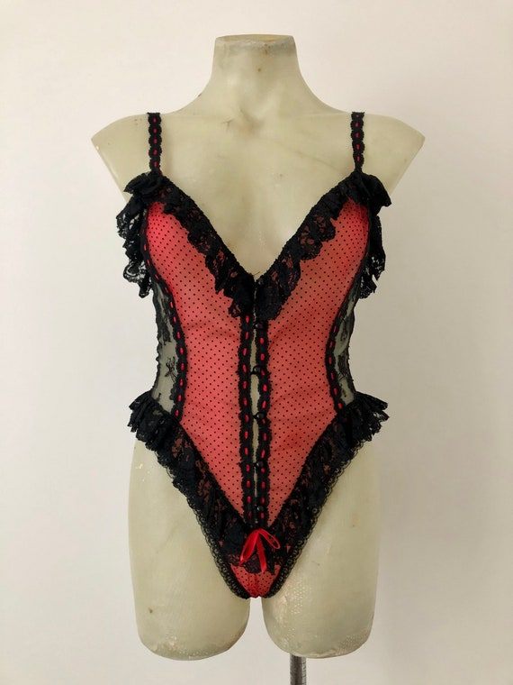 Crimson red and black lace bodysuit