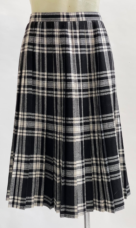 Black and White Tartan-Check Pleated Wool Skirt - image 1