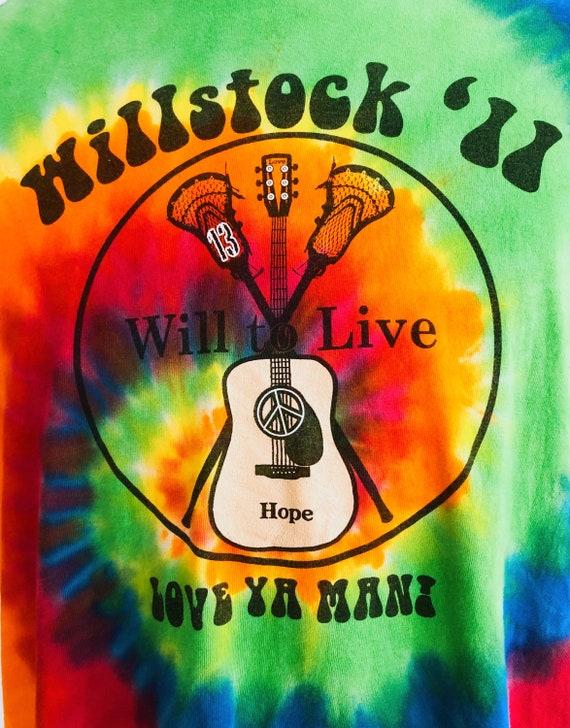 Guitar print rainbow tie-dye T-shirt - image 2