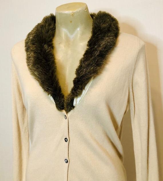 Vintage faux fur collar cardigan