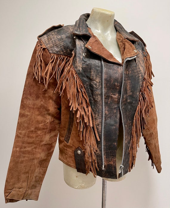 Genuine Leather and Suede Tobacco Brown Fringe Jac