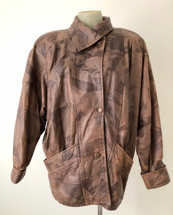 Brown 80s patchwork batwing leather jacket