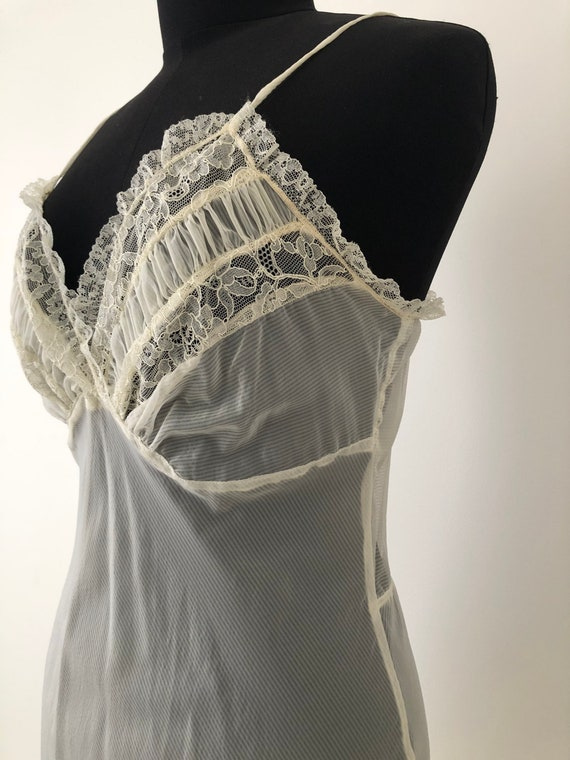 Eggshell white lace negligee