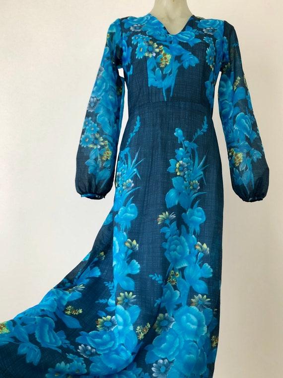 70s floral printed prairie bishop sleeve dress