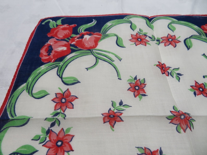 Vintage Floral Printed Handkerchief; Navy Border; Floral Bouquet in Each Corner; Fashion Accessory; Great Gift Item