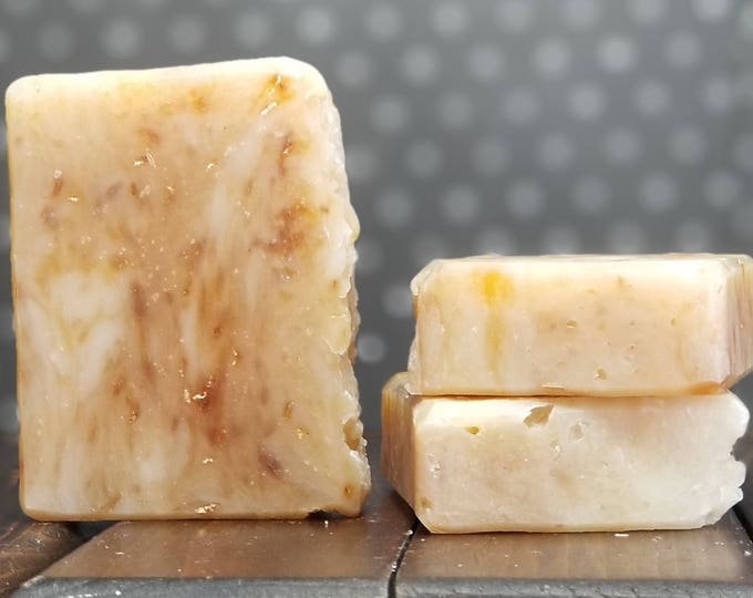 Honeyed Oats Soap -- All Natural, Handmade, Unscented, Hot Process, Vegetarian, Oats and Honey Soap, Free Shipping