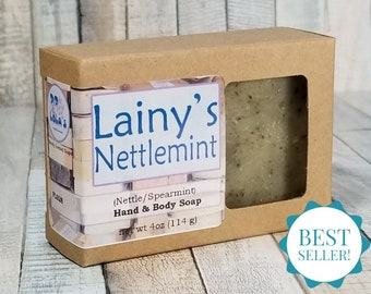 Lainy's Nettlemint Soap (Stinging Nettle and Spearmint) -- All Natural, Handmade, Essential Oil, Hot Process, Vegan Soap, Free Shipping