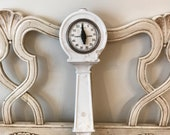 Vintage Kitchen Timer - White enamel, Cast Iron Kitchen Timer Stove Attachment - Farmhouse Decor