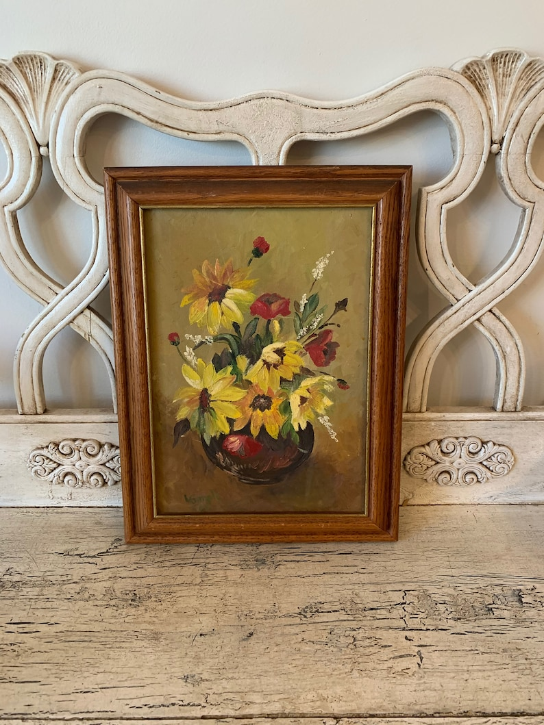 Floral Painting Framed Canvas Signed Pretty Vintage Oil Painting