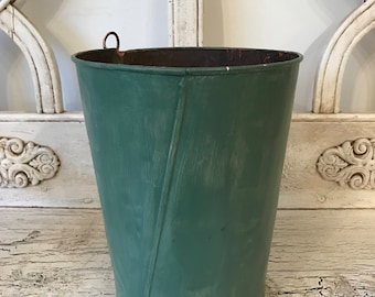 Vintage Maple Syrup Sap Bucket - Pale Green Pail for Decor