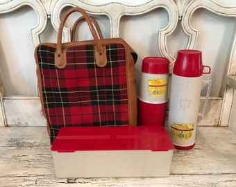 Vintage Red Plaid Picnic Tote - Thermos Brand Picnic Bag with Thermos and Sandwich Box