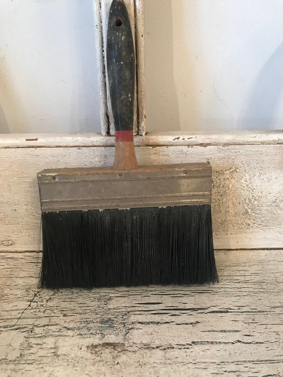 Large Vintage Wallpaper Brush Wooden Handle Rustic 6 Inches Wide