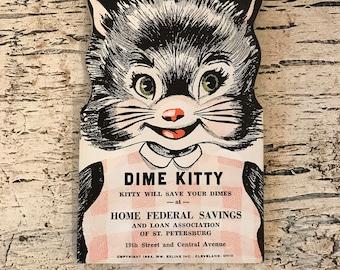 Vintage Dime saver - Dime Kitty - 1950s Bank Advertising