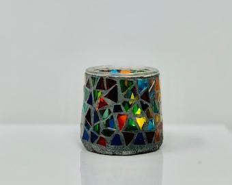 Glass mosaic votive holder or vase