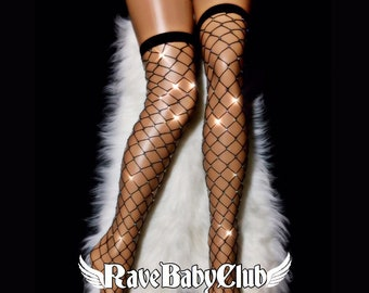 ce6b356269174 Sale Black Crystal Thigh High Fishnet Socks. Pink Red Festival Rave Rhinestone  Fishnet Socks. Handmade Crystallized Diamond Fishnet Socks