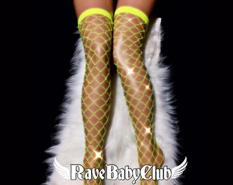 f35773fc9bf27 Sale Neon Green Crystal Thigh-High Fishnet Socks. Black Festival Rave Rhinestone  Fishnet Socks. Handmade Crystallized Diamond Fishnet Socks