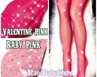 3c8e78734 Sale Pink Crystal Fishnet Tights. Black Nude Festival Rave Rhinestone  Fishnet Tights. Handmade Crystallized Diamond Rhinestone Tights 90s