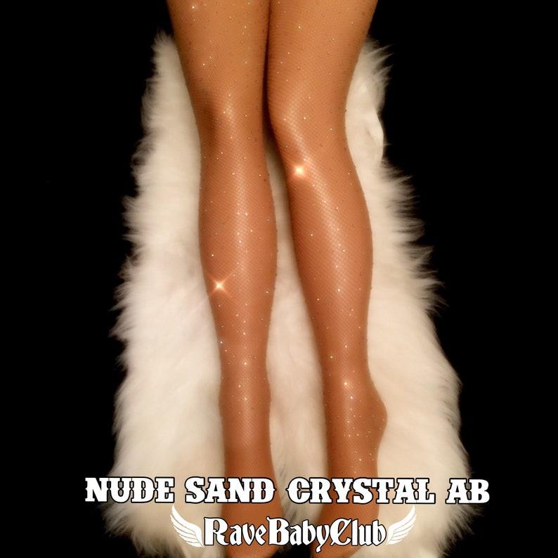 7ea43e33a9d71 Sale Nude Crystal Fishnet Tights. Black Skin Coffee Festival | Etsy