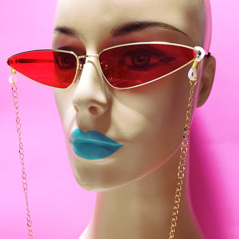 e2d034ddae Sale Gold Sunglasses Chain with Red Tinted Cat Eye Sunglasses.