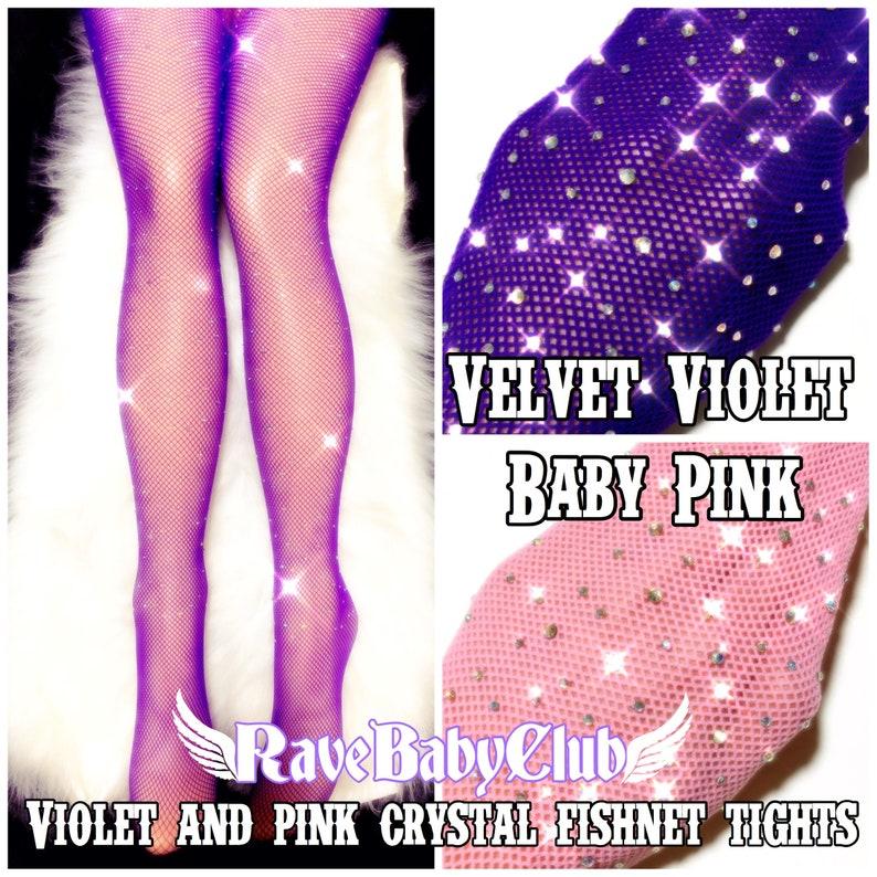 4849c61ff01f9 Sale Violet Crystal Fishnet Tights. Black Nude Festival Rave | Etsy