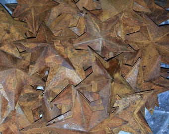 """Lot of 100 Rusty 2.25"""" (2-1/4"""") Country Stars, 3D, Rusted, Hole for Hanging, Metal Craft Supply, Crafting Barn Stars"""