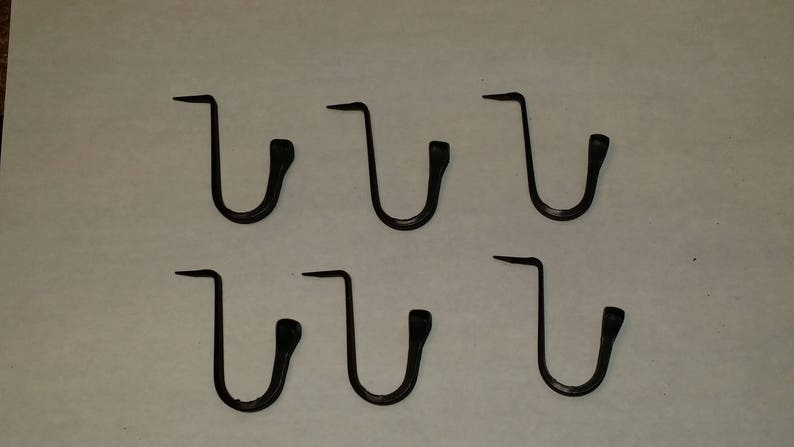 """Primitive Colonial Hook 1-1//4/"""" tall Set of 6 Small Wrought Iron Spike Hooks"""