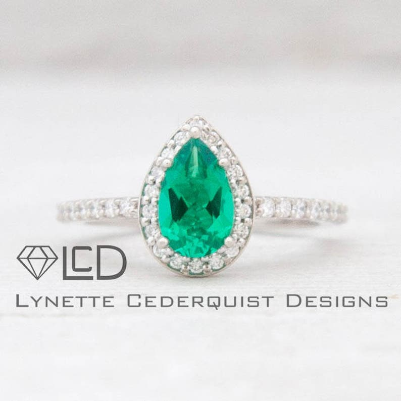89e865d33 Deposit: The Madison 3/4 carat Pear Cut Chatham Emerald and | Etsy