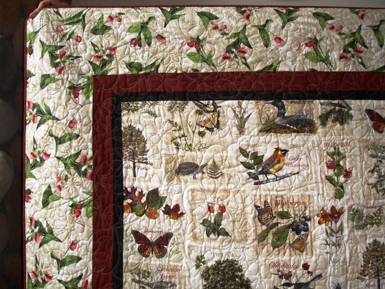 Sights /& Sounds of Minnesota Twin Lap Quilt Panel with Lady Slippers
