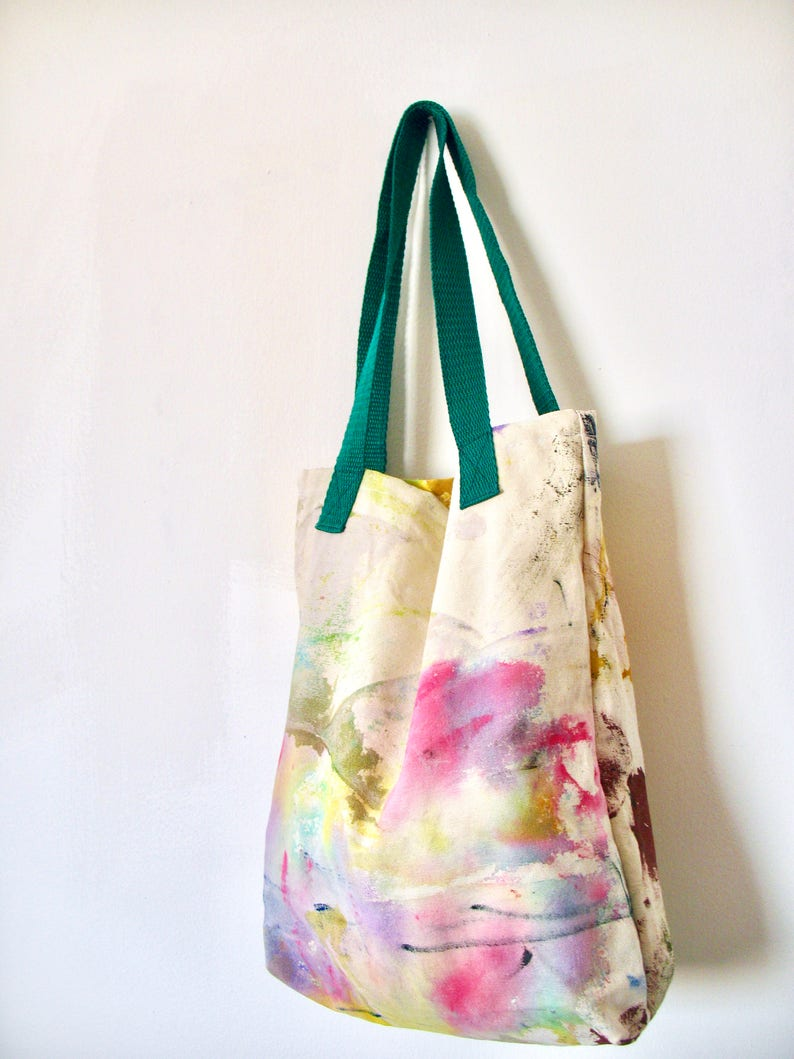 acrylic painted Cotton canvas tote bag splashed with green and pink colors