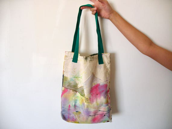 Cotton Canvas Tote Bag Acrylic Painted Splashed With Green And Pink Colors