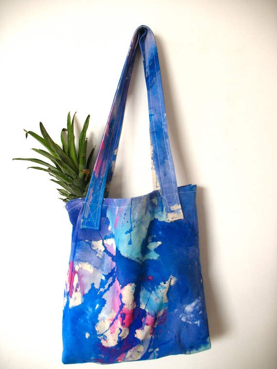 Cotton Canvas Tote Bag Acrylic Painted In Blue Shades