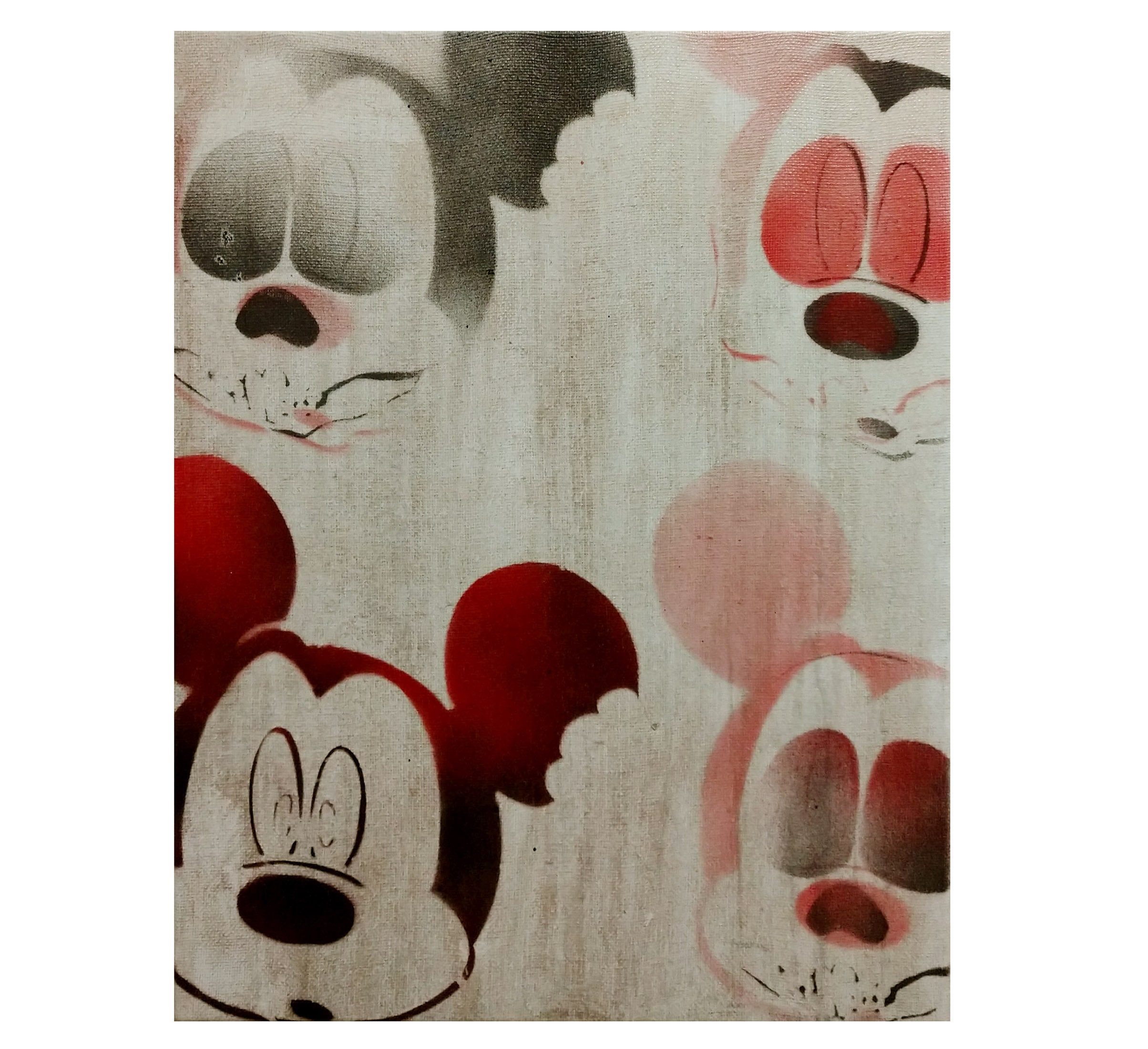 2fdfb14b58ec Zombie Mickey Mouse Painting Original Graffiti Art on Canvas