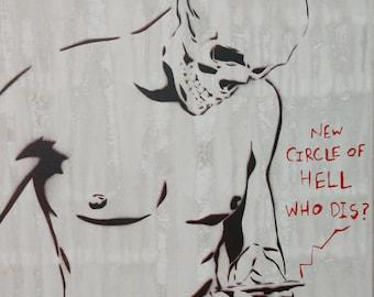 skeleton art, male figurative art, original graffiti art