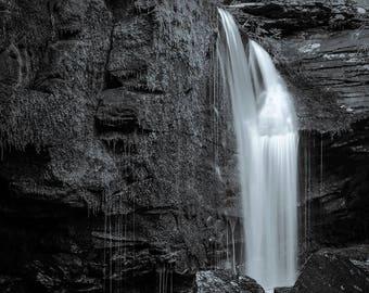 waterfall, 8x10 fine art black & white photograph, nature