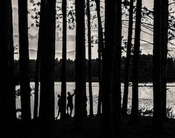 cooper lake silouette, 8x10 black & white fine art photograph, nature
