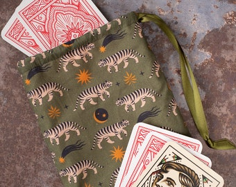 Boho Tiger Drawstring Dice or Tarot Bag - Tiger, Animal, Jungle, Boho, Moon, Esoteric, Pagan, Wicca, Mystical, Occult, Mystical, Spiritual