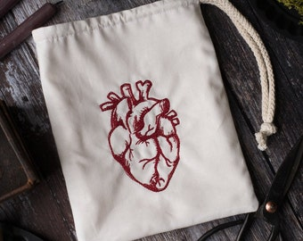 Anatomical heart pouch for LARP, SCA, roleplaying, or tabletop gaming