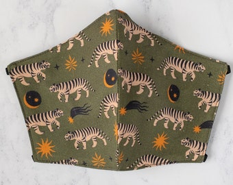Boho Tiger Moss Green Cotton Washable Face Mask - Handmade in the UK and Ready to Ship