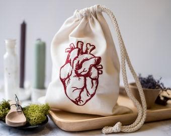 Anatomical Heart Drawstring Bag
