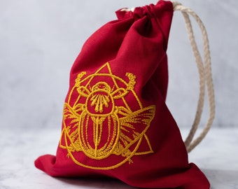 Red and Gold Embroidered Scarab Egyptian Occultist Drawstring Bag for Tarot Card Storage