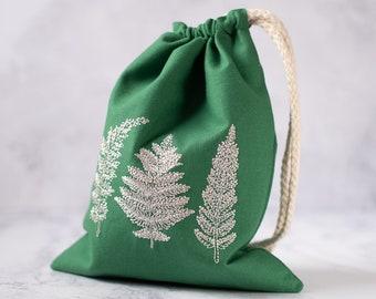 Green Fern Botanical Drawstring Bag for tarot cards, LARP, or dice